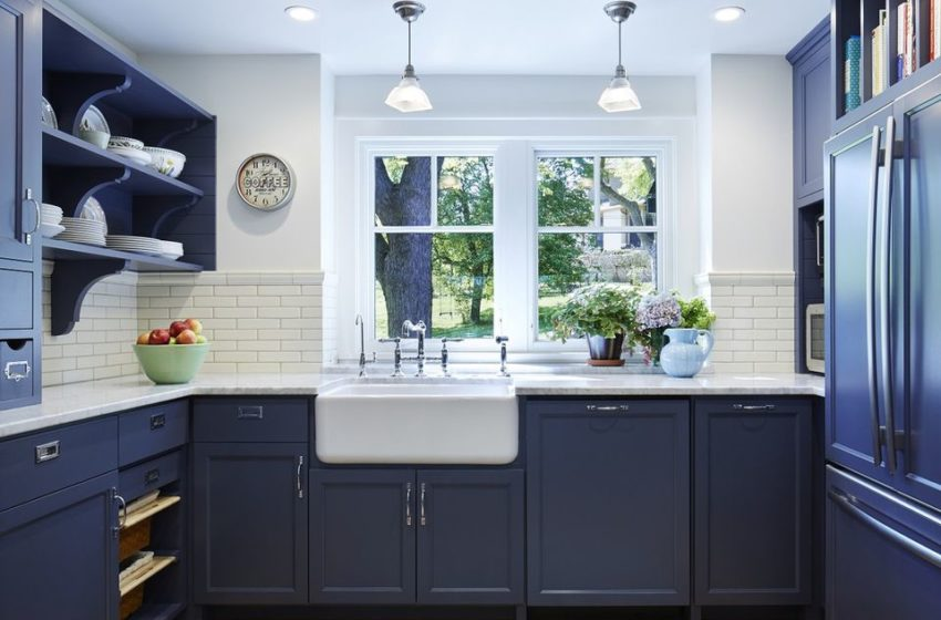 How do I use navy blue cabinets in my kitchen?